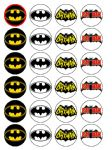 24 x Batman Logo Sign Party Edible Wafer Rice Paper Birthday Cake Top Toppers